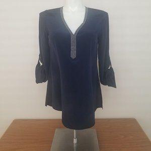 NWOT WHBM Dark Blue Silk Blouse Studded Neckline